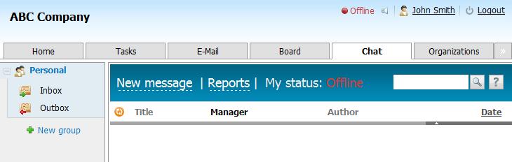 Le module Chat dans le système de travail en groupe TeamWox