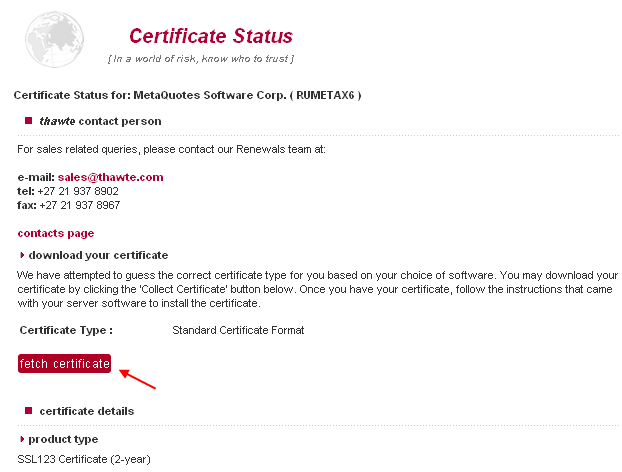 Fetch Certificate
