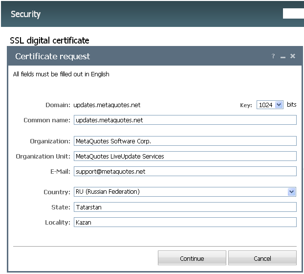 Certificate Request Form