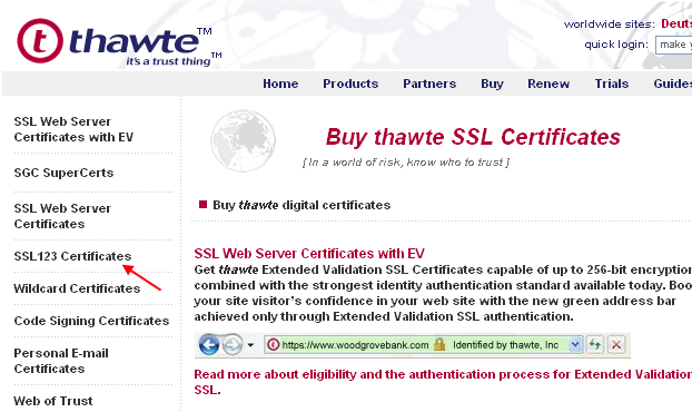 SSL123 Certificates