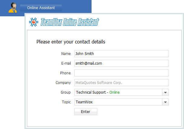 Starting the Online Assistant