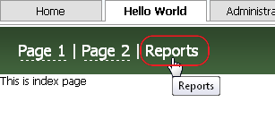 Link to the Reports Page in the Module's Main Page Header