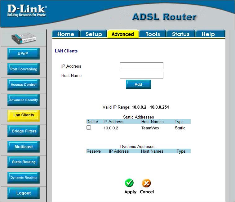 Réglage D-Link DSL-500T
