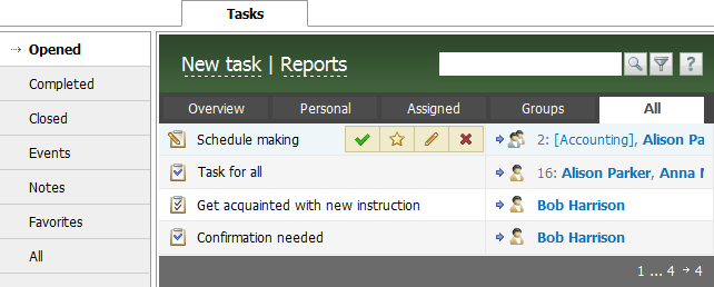 Task Manager (Tasks) in TeamWox collaboration system