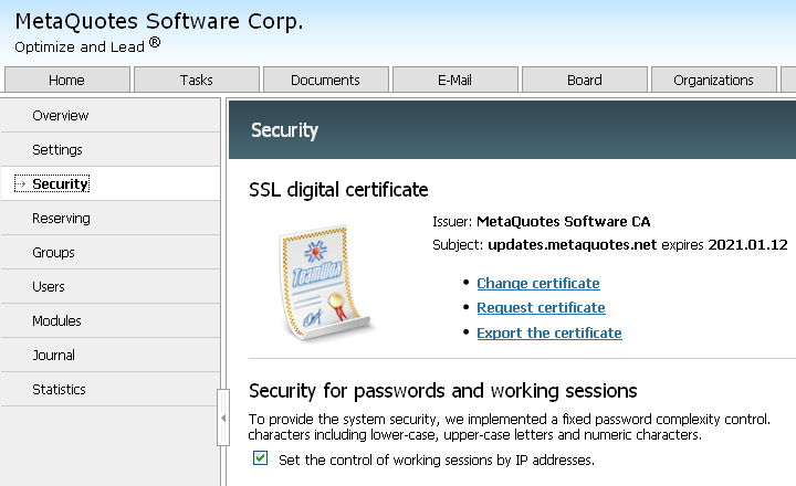 Request certificate