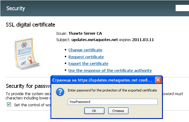 Export the certificate
