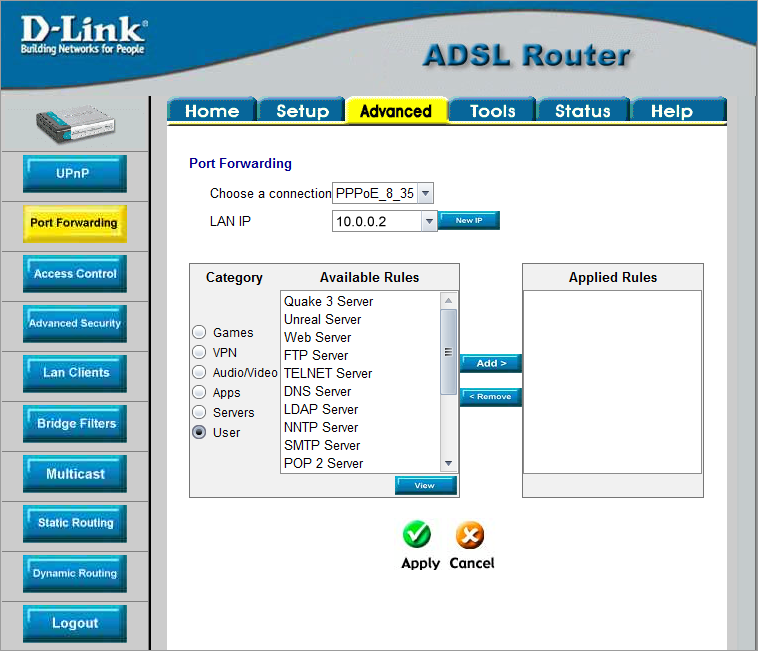 Setup of D-Link DSL-500T
