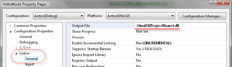 Default compilation path of module DLL