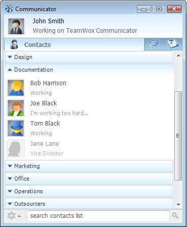 Главное окно TeamWox Communicator