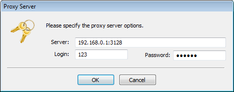 Enter the proxy server parameters to log in TeamWox Communicator