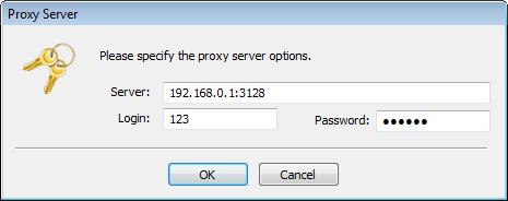 Введите параметры прокси-сервера для входа в TeamWox Communicator