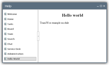 Help for the Hello World Module Main Page in English