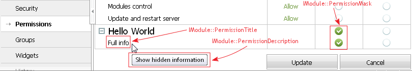 IModule Interface Methods Controlling Permissions