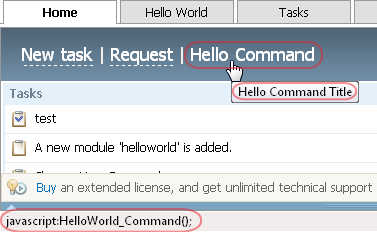 Custom Command in TeamWox main page header