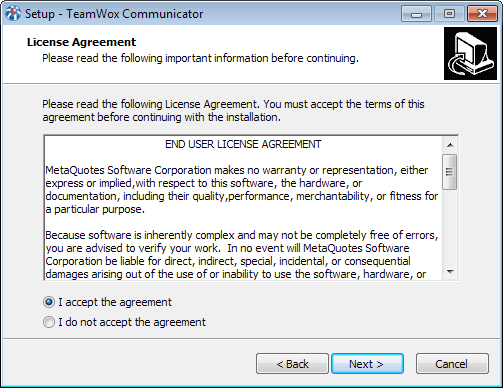 Read the license agreement to install TeamWox Communicator