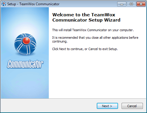 Start of the installation of TeamWox Communicator on your сomputer