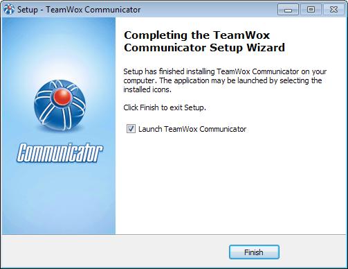 Click Finish to start TeamWox Communicator