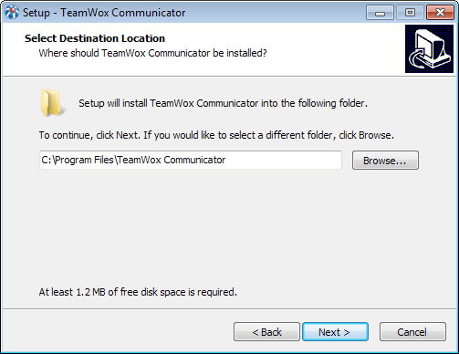 Select a directory to install TeamWox Communicator