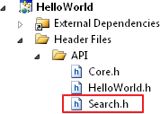 Including 'Search' Moduel API to the Hello World Project