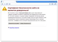 Предупреждение Google Chrome о недоверенном SSL-сертификате