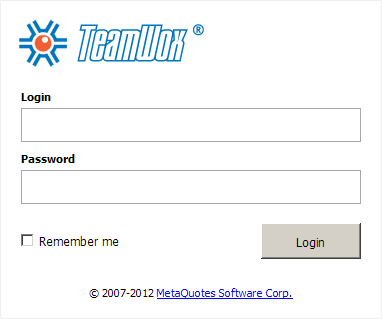 TeamWox Enterprise Management System: User authorization page