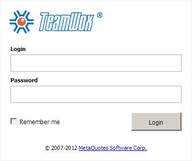 TeamWox Enterprise Management System: User authorization page
