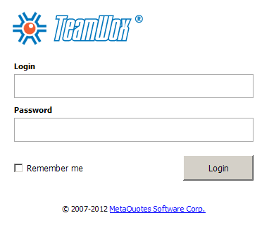 TeamWox Groupware user login page