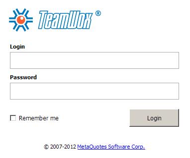 TeamWox Groupware user login page