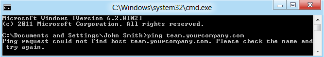 Ping command execution result - groupware web site is not available
