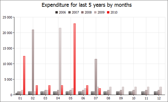 Expenditure for last 5 years by months