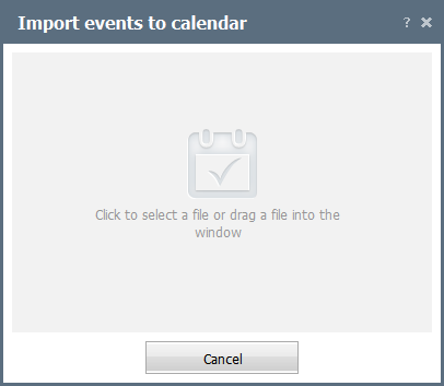 Select a file to import events