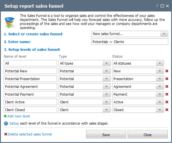"Settings of the ""Sales funnel"" report"