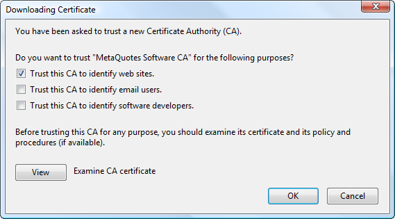 Downloading certificate