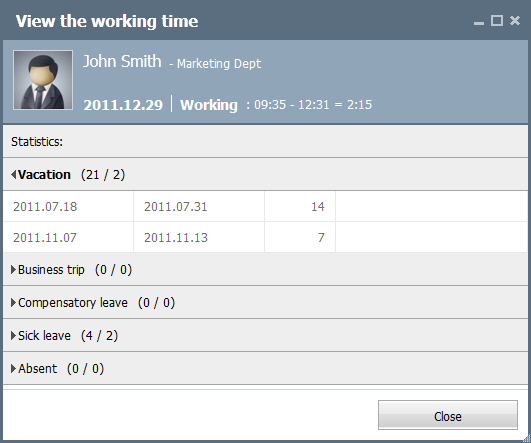 View the working time