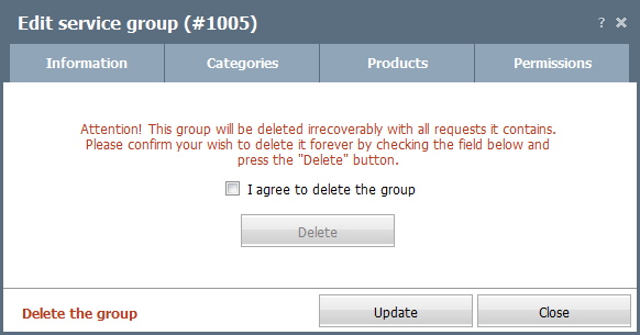 Group deleting
